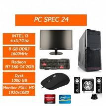 Zestaw Komputerowy Intel i3 4x3.7GHz/R7 360OC 2GB/1TB/ 8GB Monitor